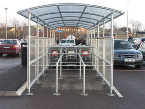 Shopping trolley bay galvanised tube and clamps