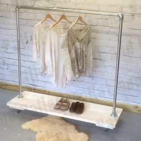 Clothing rail with wood shoe rack
