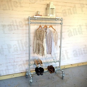 Clothing rail with metal shoe rack