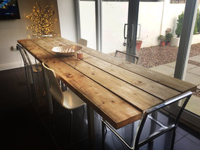 Scaffold plank dining table