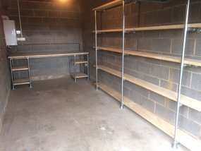 Workshop/garage bench and shelving